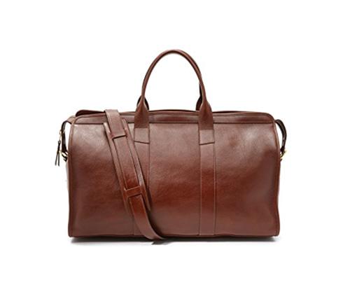 A leather weekender bag
