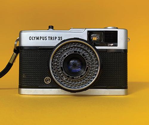 An Olympus Trip 35 film camera